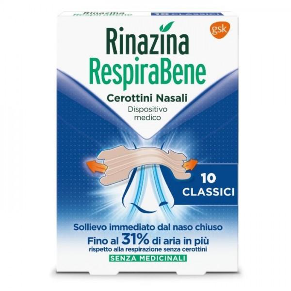 Rinazina Respirabene 10 Cerottini Nasali Classici Grandi